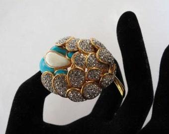 70's KJL Kenneth Jay Lane Exquisite Floral Rhinestone & Enamel Brooch