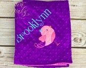 Baby Bird Personalized Minky Blanket Choose your Colors, Bird Applique Blanket, Minky Baby Blanket, Custom Embroidered blanket, animal lovey