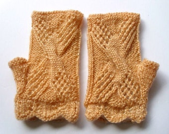 Lace fingerless gloves.  Mustard color  Hand knit  Ready for shipping