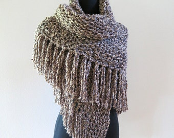 Dark Beige Gray Black Taupe Color Chunky Knitted Shawl Stole Wrap with Long Fringes Available in XXL Size