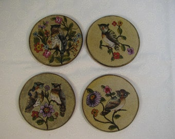 Vintage Owl and Flowers Coasters Set of 4 Acrylic over Wood -