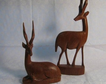 Vintage Hand Carved Wood African Gazelles / Impalas from Kenya 2 Adults and a Baby