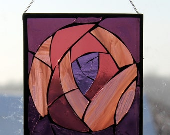 Purple apstract   Stained Glass SunCatcher or wall Decoration