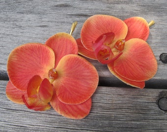 Hawaiian  CORAL Orchids SET OF 2 bobby pin flowers-hair clips - Weddings -