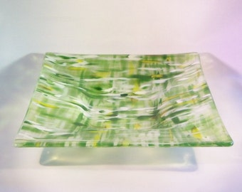 Spring Green // Fused GLass Art // Square Dish // Field of FLowers // Impressionist Style // Serving // Display // Home Decor // Large