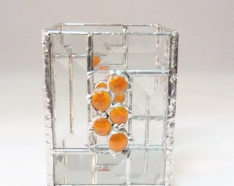 Candle Holder // Orange // Art GLass // Bevel // Small // Modern // Mirror // Art Deco // Modern // Gift // Cheerful // Home Decor // Fun