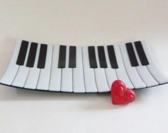 Piano Keyboard Fused Glass Dish