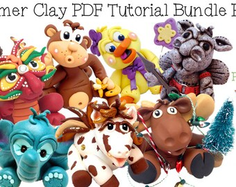 34 Polymer Clay Tutorials Bundle Pack - Also for Fondant, Sugar Paste, & Other Sculpting Mediums