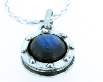 Labradorite Protection Necklace Porthole in Sterling Silver or White Bronze Made in NYC