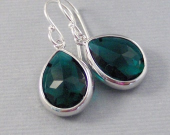 Winter Ivy Droplets,Emerald Earrings,Silver Earrings,Sterling Silver,Bride,Green,Green Earings,Wedding,Emerald,Green Stone Valleygirldesigns
