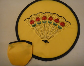 Folding fan with custom embroidery and case