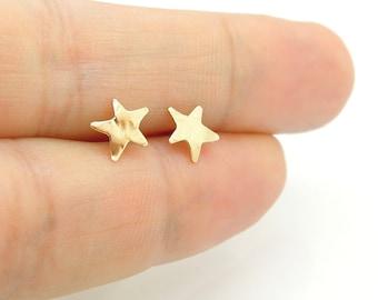 Star post earrings, silver & Gold