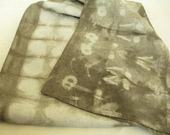 "Eco-Gift - Natural Dye Unisex Scarf - Raw Silk -  Walnut Brown Rust - 9"" x 73"" (24x188cm)  - SN101403"