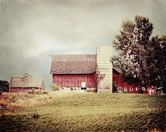 Red Country Barn Photograph, Rustic Red Barn Print, Old Red Barn Photo, Rustic Home Decor, Farmhouse Decor 8x10
