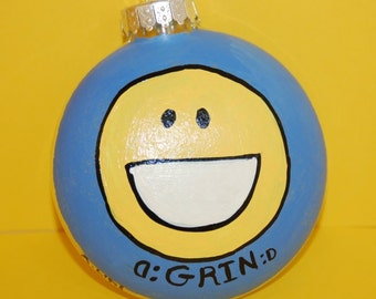 Facebook Emoticon GRIN Christmas Tree Ornament Hand Painted Glass