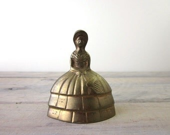 Vintage Brass Bell Woman in Dress
