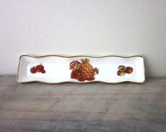 Oakley Fruit Design China Tray Fine Bone China Made in England Pineapple Strawberries Walnuts
