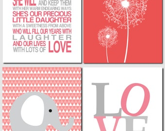 Daughter Wall Art, She is my Daughter, She is Love, Girl Nursery Art, Elephant, Love, Dandelions, Coral, Gray, Set of 4, Art Prints