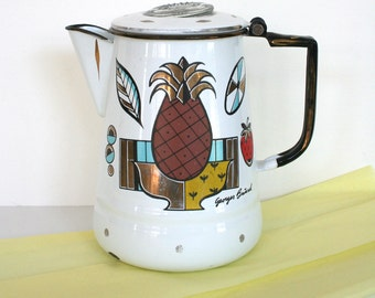 Mid century modern enameled coffee pot by Georges Briard. Graphic teapot, still life teapot, retro, pineapple, brown, gold, aqua, yellow.