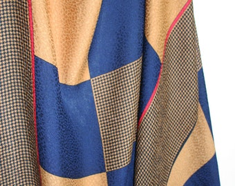Oversized silk scarf by Bill Blass. Geometric, checkers, navy blue, straw yellow, red, saturated, hand rolled, disco era.