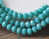 95pcs Crystal Glass Rondelle Faceted Tiny beads 4x6mm, Opaque Sea Green (#BZ06-113)