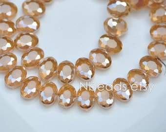 Oval Crystal Glass Faceted beads 12mm Matte Gold Champagne -(TS55-5)/ 68pcs