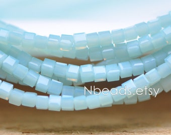200 beads- Faceted Glass Cube, 2mm Tiny Faceted Crystal Spacer beads, Opaque Sky Blue- (#FZ02-26)