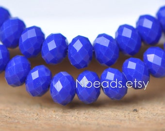 Faceted Rondelle Crystal Glass Beads 6x8mm Opaque Sapphire Blue - BZ0893/ 70pcs