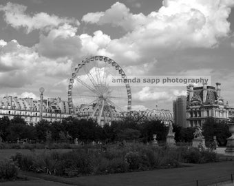 Paris Ferris Wheel Photograph black and white