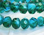 Czech rich capri blue and emerald green 8x6mm rondel beads, lot of (12) beads - BF132