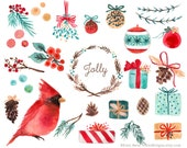 Watercolor Holiday Christmas Clip Art - Tree Branch Balls Ornaments Red Cardinal Gifts Pine Cone Holly Berry Mistletoe Wreath