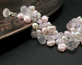Pastel Pink Bridal Bracelet Rose Quartz Cluster Sterling Silver Wire Wrapped Freshwater Pearl Swarovski Crystal Wedding Jewelry