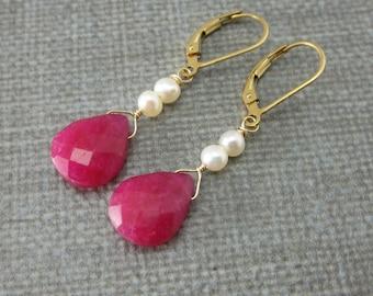Raspberry Red Ruby Earrings, Freshwater Pearl Earrings, Gold Ruby Earrings, Genuine Ruby Leverback Earrings, Natural Ruby Pearl Earrings