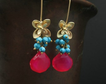Hot Pink Chalcedony Gold Earrings, Blue Turquoise Cluster, Gold Flower Earrings, Colorful Gemstone Dangle Earrings