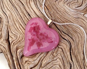 Pink Fused Glass Heart Pendant Necklace - Fused Glass Jewelry - Valetines Day Gift
