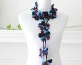 Crocheted Blue Green Navy Lariat, Necklace, Scarf, Scarflette