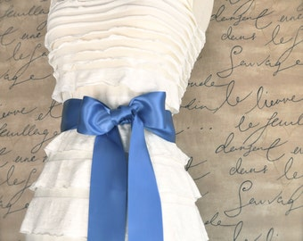 Satin sash in your choice of colors. Bridal belt Bridesmaids sash Flower Girl sash. Colonial blue shown