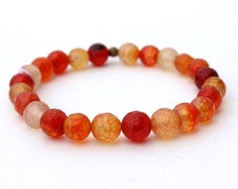 Orange Agate Stretch Bracelet, Jewelry, Christmas Gift