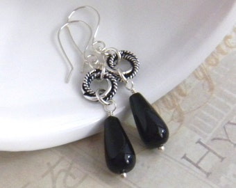 Black Onyx Earrings, Black Teardrop Earrings, Beaded Gemstone Earrings, Womens Fashion Jewelry, Womens Earrings