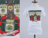 Vintage 80s hanes DIXIE beer t shirt / Brewed in New Orleans / Ultra soft and thin