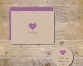 Wedding Thank You Cards, Thank You Cards, Hearts, Initials In Heart, Heart Thank You Cards, Rustic Wedding, Bridal Shower, Affordable