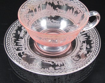 Woodland, Fox & Hounds Pink Cup and Saucer Sets (2 Available)