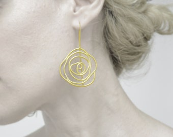 gold plated sterling silver rose earrings-flower earrings-statement earrings