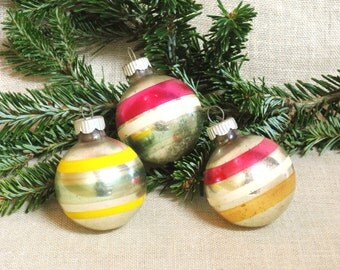 Vintage Mid-Century Shiny Brite Glass Ball Christmas Tree Ornaments, Holiday Decoration, Tree Trimming Decor, Striped, Collection, Set of 3
