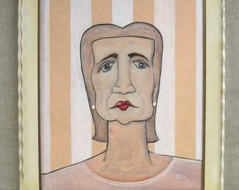 Original Fine Art Paintings of Women, Female Portraits, Portraiture, Pink Striped, Wall Paper, Wil Shepherd Studio, Framed, Handmade