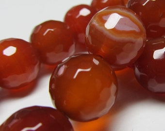 Agate Beads 12mm Rust Red Faceted Agate Round Beads -  8 Pieces