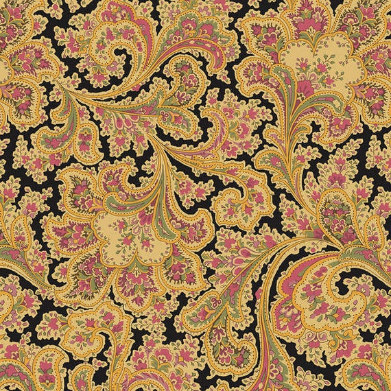 SALE! Gold, Black and Pink Wide Back 100% Cotton Fabric by the ... : wide quilt backing fabric sale - Adamdwight.com