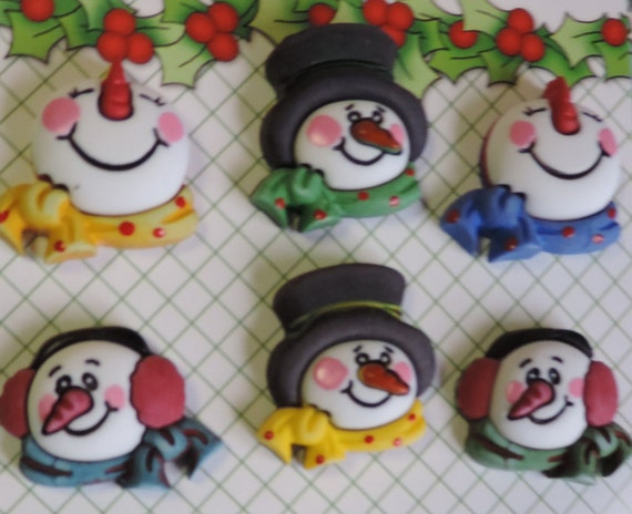 Snowman Buttons, 3D Holiday Fun Collection by Buttons Galore, Carded Set of 6 Buttons, Seasonal Buttons, Winter, Snow