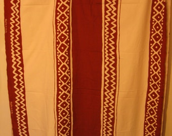 """African """"Bogolan de Woodin"""" Brown on Cream Cotton Fabric, 47"""" x Almost 4 YDs"""
