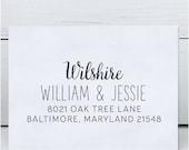 Custom Address Stamp - Calligraphy Stamp Eco Mount - wedding stamp - Wilshire